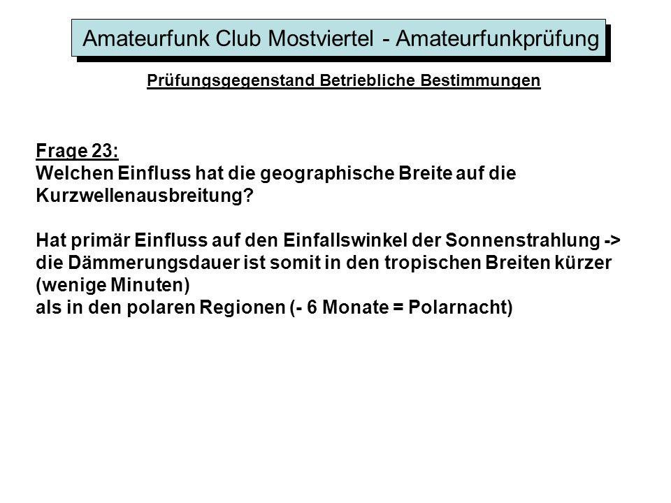 Amateurfunk Club Mostviertel - Amateurfunkprüfung Prüfungsgegenstand Betriebliche Bestimmungen Frage 23: Welchen Einfluss hat die geographische Breite