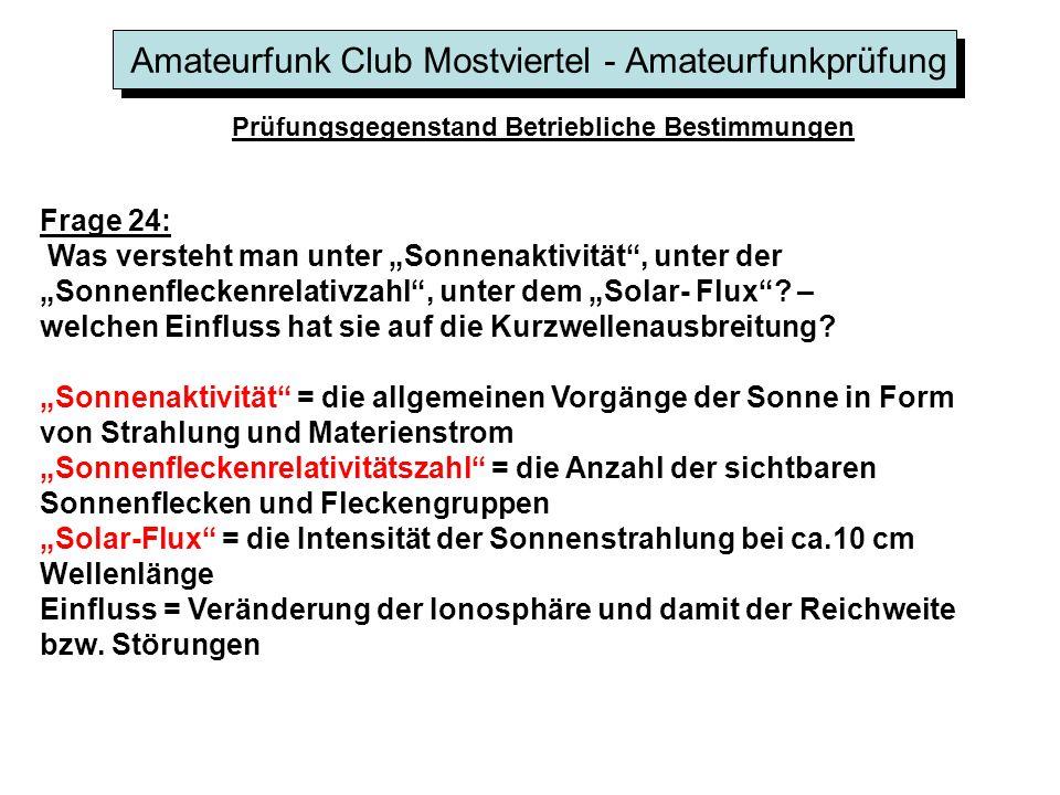 Amateurfunk Club Mostviertel - Amateurfunkprüfung Prüfungsgegenstand Betriebliche Bestimmungen Frage 24: Was versteht man unter Sonnenaktivität, unter