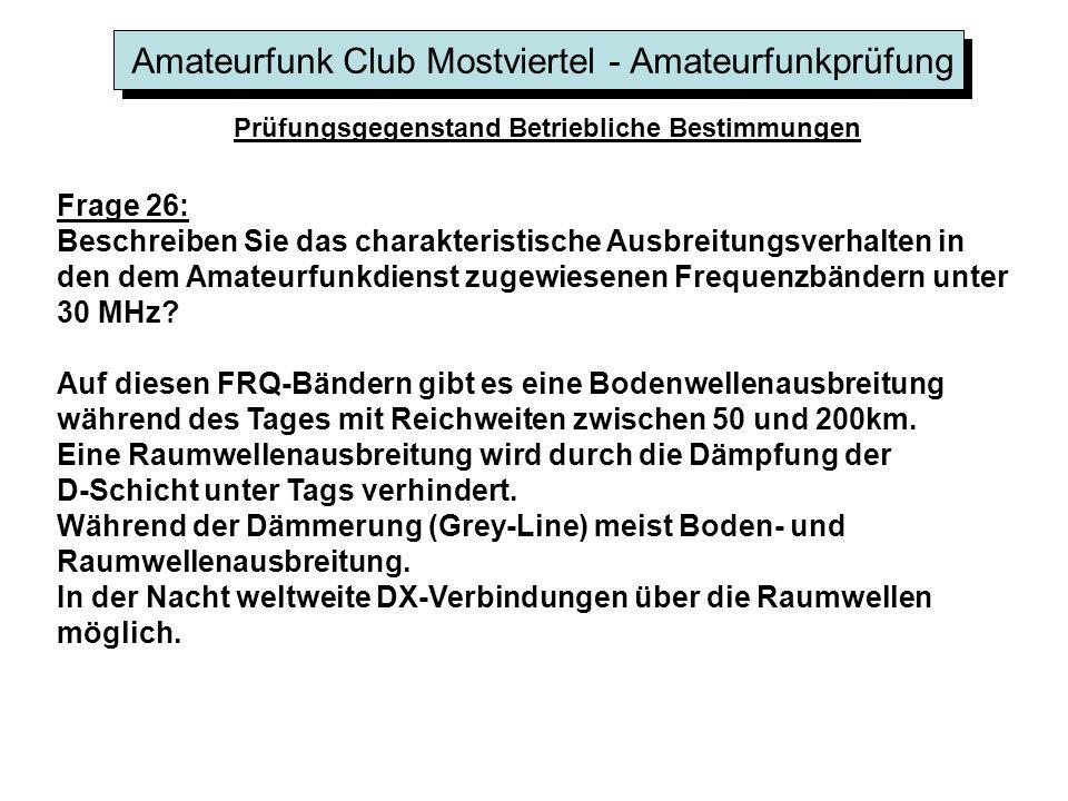 Amateurfunk Club Mostviertel - Amateurfunkprüfung Prüfungsgegenstand Betriebliche Bestimmungen Frage 26: Beschreiben Sie das charakteristische Ausbrei