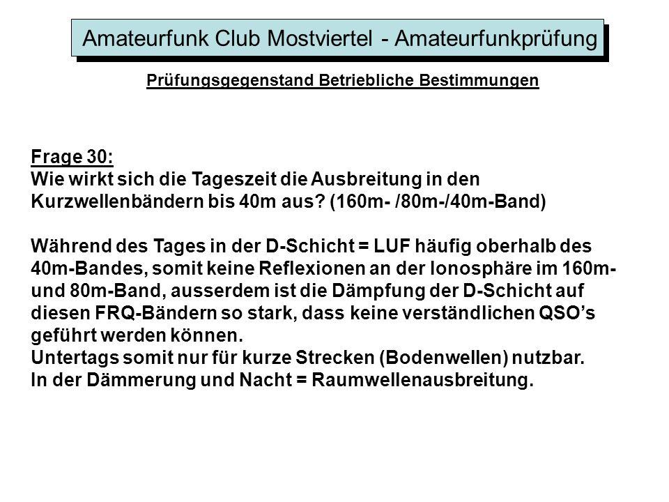 Amateurfunk Club Mostviertel - Amateurfunkprüfung Prüfungsgegenstand Betriebliche Bestimmungen Frage 30: Wie wirkt sich die Tageszeit die Ausbreitung