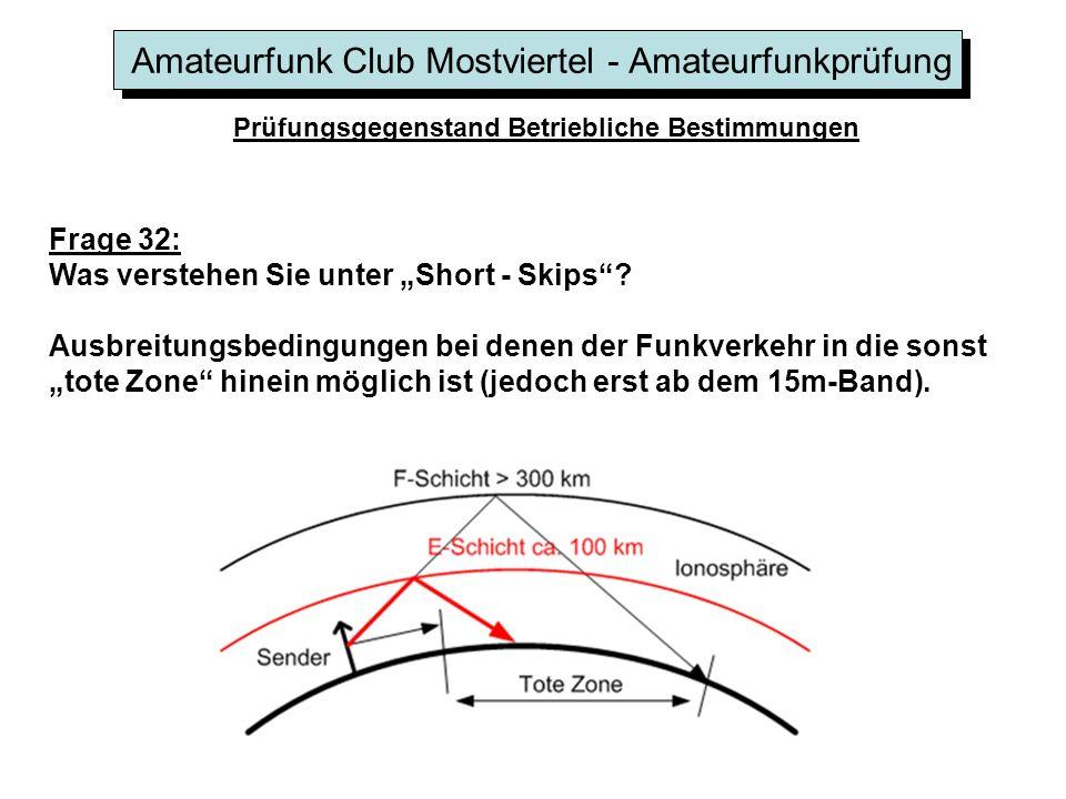 Amateurfunk Club Mostviertel - Amateurfunkprüfung Prüfungsgegenstand Betriebliche Bestimmungen Frage 32: Was verstehen Sie unter Short - Skips? Ausbre