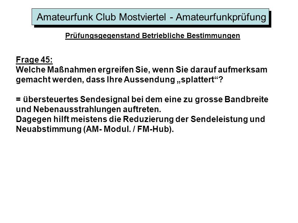 Amateurfunk Club Mostviertel - Amateurfunkprüfung Prüfungsgegenstand Betriebliche Bestimmungen Frage 45: Welche Maßnahmen ergreifen Sie, wenn Sie dara