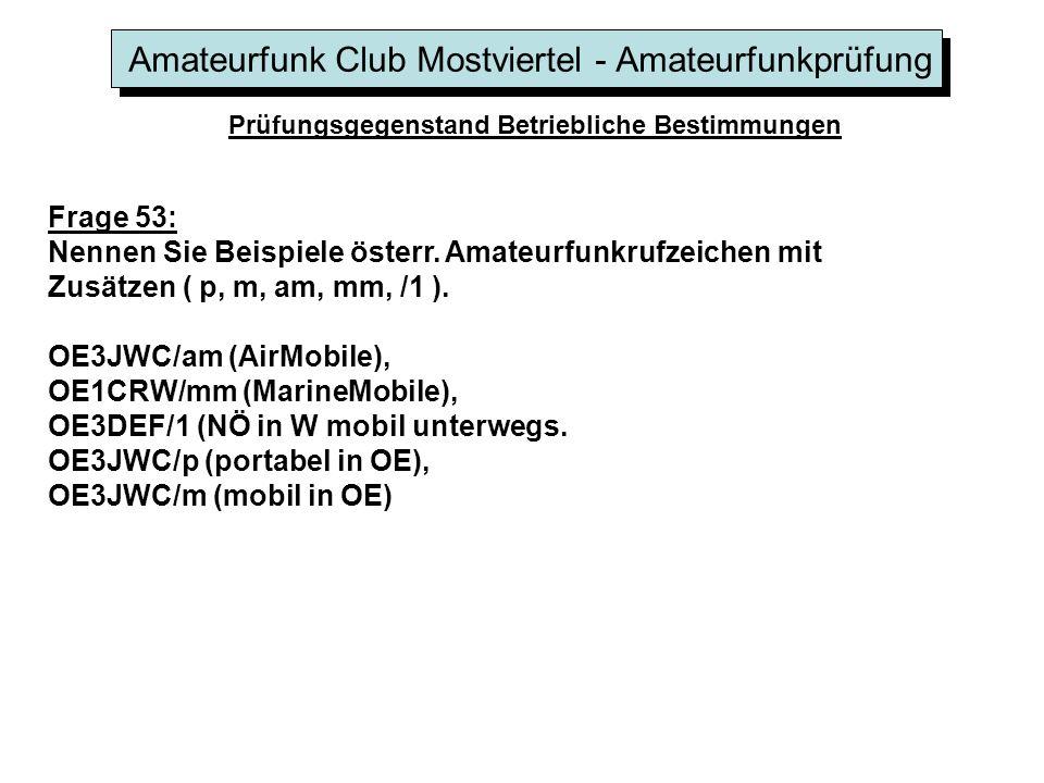Amateurfunk Club Mostviertel - Amateurfunkprüfung Prüfungsgegenstand Betriebliche Bestimmungen Frage 53: Nennen Sie Beispiele österr. Amateurfunkrufze