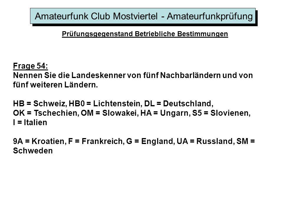 Amateurfunk Club Mostviertel - Amateurfunkprüfung Prüfungsgegenstand Betriebliche Bestimmungen Frage 54: Nennen Sie die Landeskenner von fünf Nachbarl