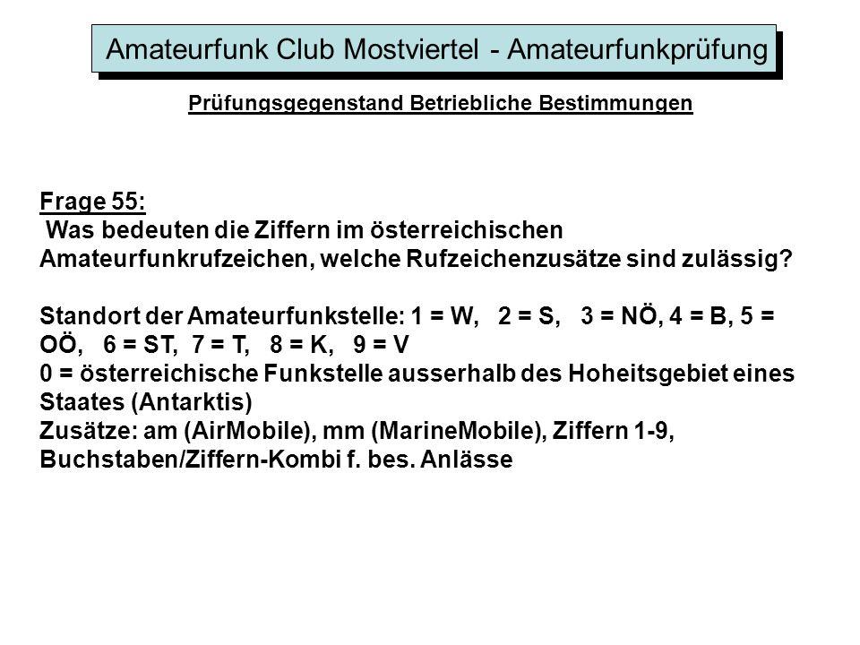 Amateurfunk Club Mostviertel - Amateurfunkprüfung Prüfungsgegenstand Betriebliche Bestimmungen Frage 55: Was bedeuten die Ziffern im österreichischen