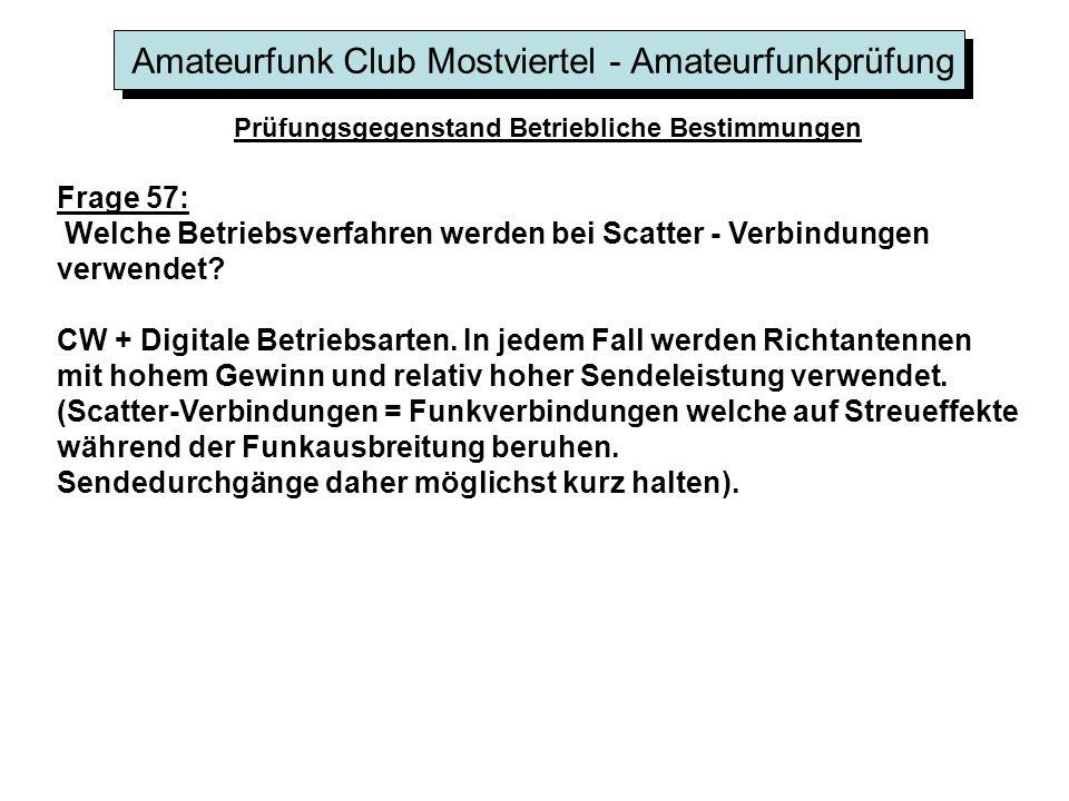 Amateurfunk Club Mostviertel - Amateurfunkprüfung Prüfungsgegenstand Betriebliche Bestimmungen Frage 57: Welche Betriebsverfahren werden bei Scatter -