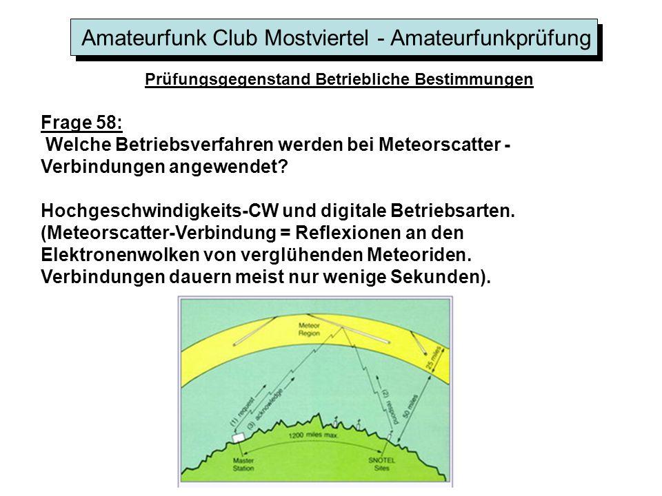 Amateurfunk Club Mostviertel - Amateurfunkprüfung Prüfungsgegenstand Betriebliche Bestimmungen Frage 58: Welche Betriebsverfahren werden bei Meteorsca