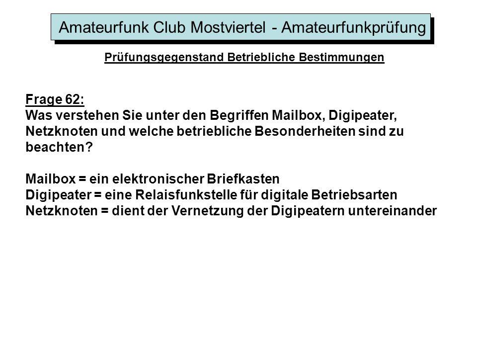 Amateurfunk Club Mostviertel - Amateurfunkprüfung Prüfungsgegenstand Betriebliche Bestimmungen Frage 62: Was verstehen Sie unter den Begriffen Mailbox