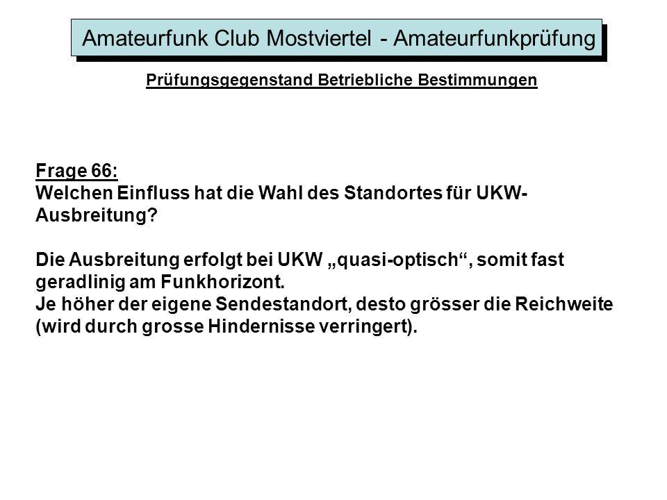Amateurfunk Club Mostviertel - Amateurfunkprüfung Prüfungsgegenstand Betriebliche Bestimmungen Frage 66: Welchen Einfluss hat die Wahl des Standortes