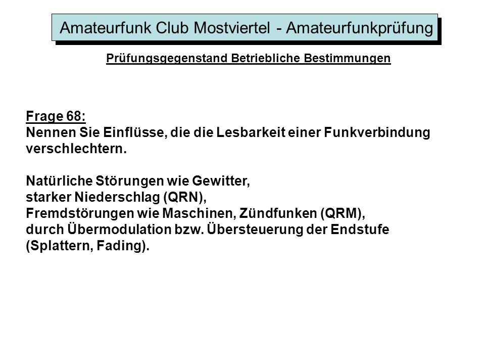 Amateurfunk Club Mostviertel - Amateurfunkprüfung Prüfungsgegenstand Betriebliche Bestimmungen Frage 68: Nennen Sie Einflüsse, die die Lesbarkeit eine
