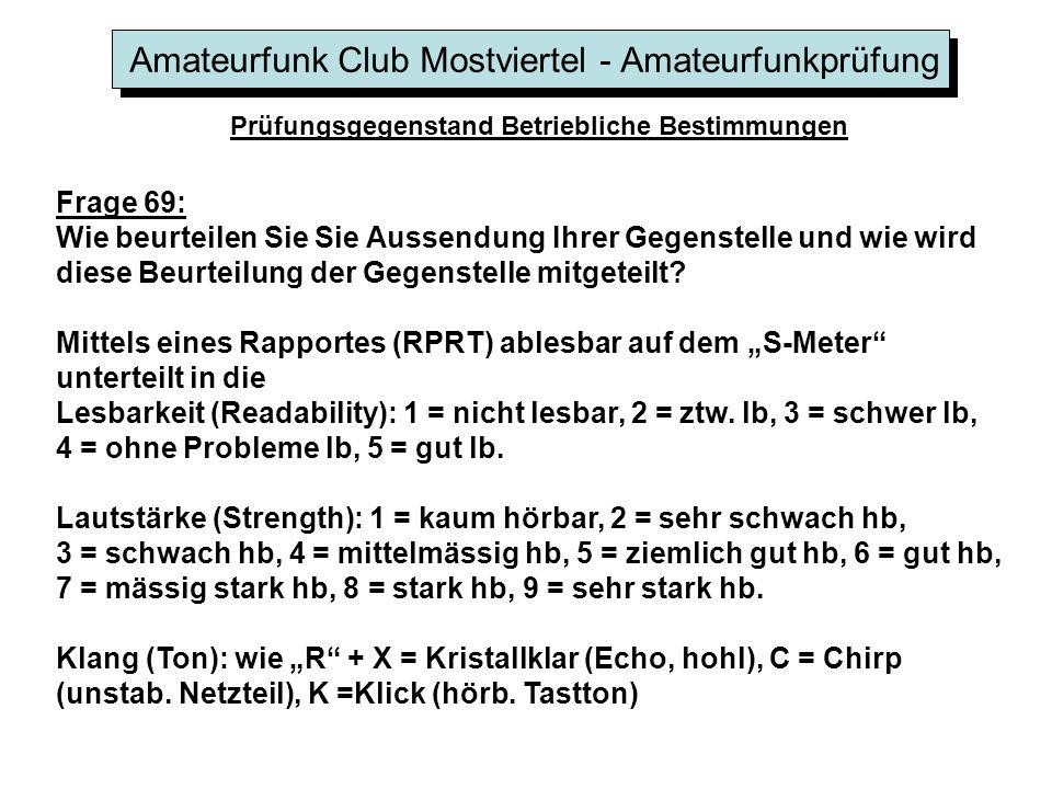 Amateurfunk Club Mostviertel - Amateurfunkprüfung Prüfungsgegenstand Betriebliche Bestimmungen Frage 69: Wie beurteilen Sie Sie Aussendung Ihrer Gegen