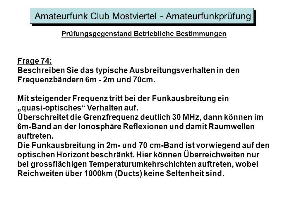 Amateurfunk Club Mostviertel - Amateurfunkprüfung Prüfungsgegenstand Betriebliche Bestimmungen Frage 74: Beschreiben Sie das typische Ausbreitungsverh
