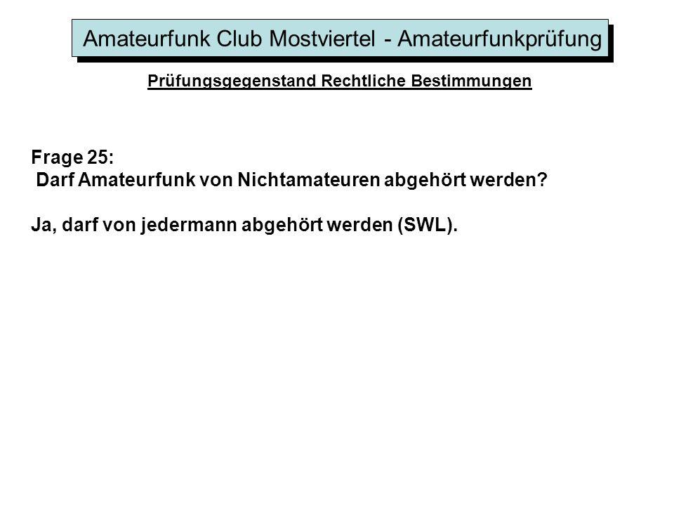 Amateurfunk Club Mostviertel - Amateurfunkprüfung Prüfungsgegenstand Rechtliche Bestimmungen Frage 25: Darf Amateurfunk von Nichtamateuren abgehört werden.