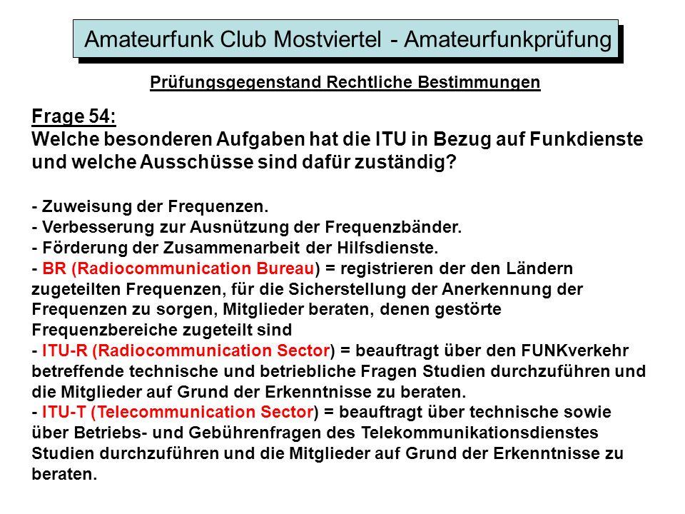 Amateurfunk Club Mostviertel - Amateurfunkprüfung Prüfungsgegenstand Rechtliche Bestimmungen Frage 54: Welche besonderen Aufgaben hat die ITU in Bezug auf Funkdienste und welche Ausschüsse sind dafür zuständig.