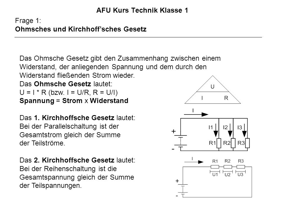 AFU Kurs Technik Klasse 1 Frage 1: Ohmsches und Kirchhoffsches Gesetz Das Ohmsche Gesetz gibt den Zusammenhang zwischen einem Widerstand, der anliegenden Spannung und dem durch den Widerstand fließenden Strom wieder.
