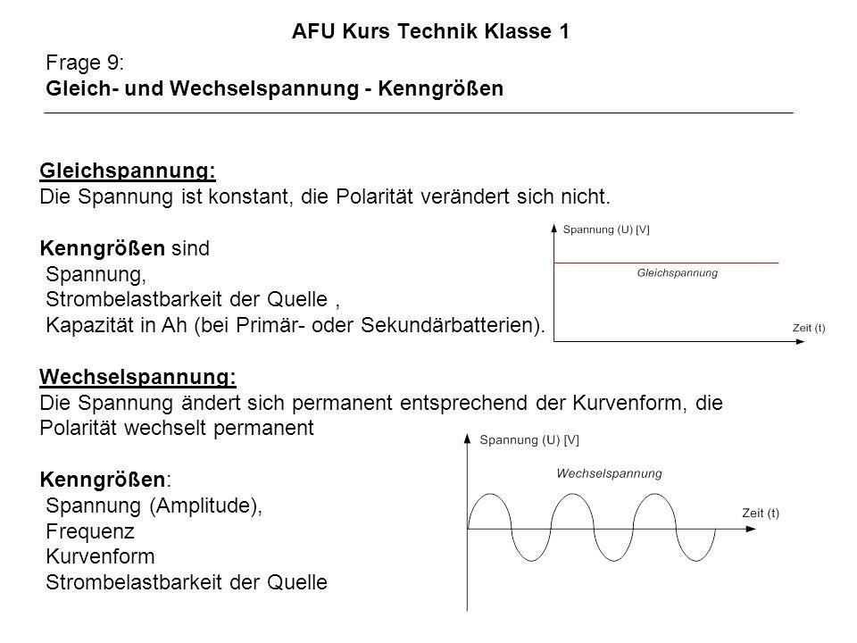 AFU Kurs Technik Klasse 1 Frage 9: Gleich- und Wechselspannung - Kenngrößen Gleichspannung: Die Spannung ist konstant, die Polarität verändert sich ni