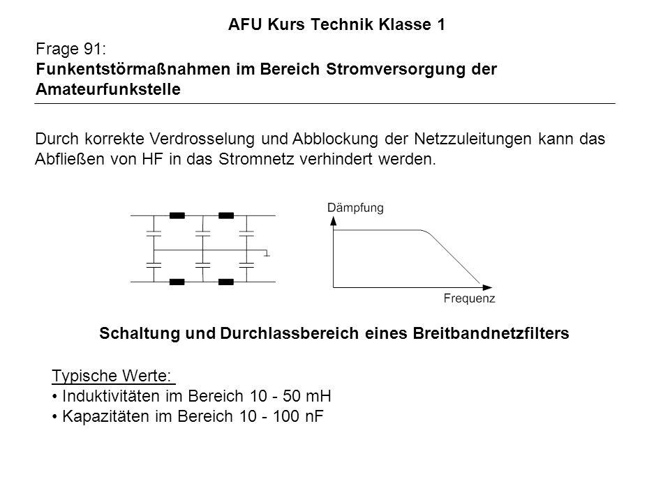 AFU Kurs Technik Klasse 1 Frage 91: Funkentstörmaßnahmen im Bereich Stromversorgung der Amateurfunkstelle Durch korrekte Verdrosselung und Abblockung der Netzzuleitungen kann das Abfließen von HF in das Stromnetz verhindert werden.