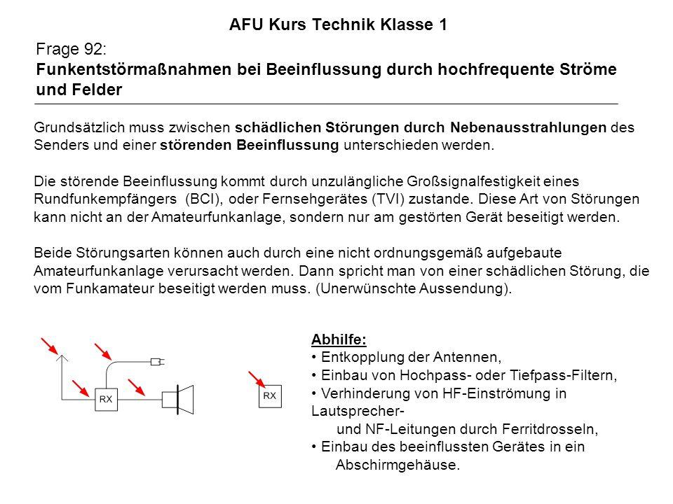 AFU Kurs Technik Klasse 1 Frage 92: Funkentstörmaßnahmen bei Beeinflussung durch hochfrequente Ströme und Felder Abhilfe: Entkopplung der Antennen, Einbau von Hochpass- oder Tiefpass-Filtern, Verhinderung von HF-Einströmung in Lautsprecher- und NF-Leitungen durch Ferritdrosseln, Einbau des beeinflussten Gerätes in ein Abschirmgehäuse.