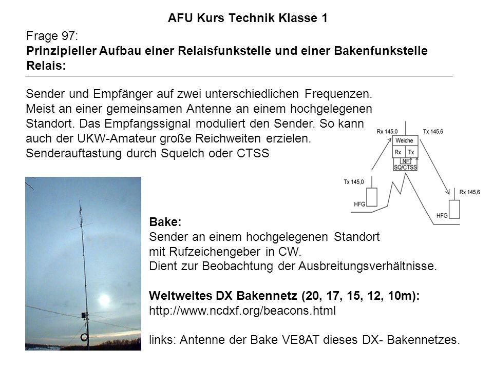 AFU Kurs Technik Klasse 1 Frage 97: Prinzipieller Aufbau einer Relaisfunkstelle und einer Bakenfunkstelle Relais: Sender und Empfänger auf zwei unterschiedlichen Frequenzen.