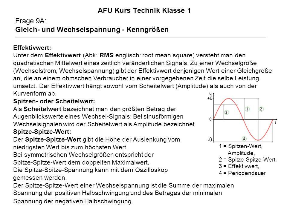 AFU Kurs Technik Klasse 1 Frage 9A: Gleich- und Wechselspannung - Kenngrößen Effektivwert: Unter dem Effektivwert (Abk: RMS englisch: root mean square) versteht man den quadratischen Mittelwert eines zeitlich veränderlichen Signals.