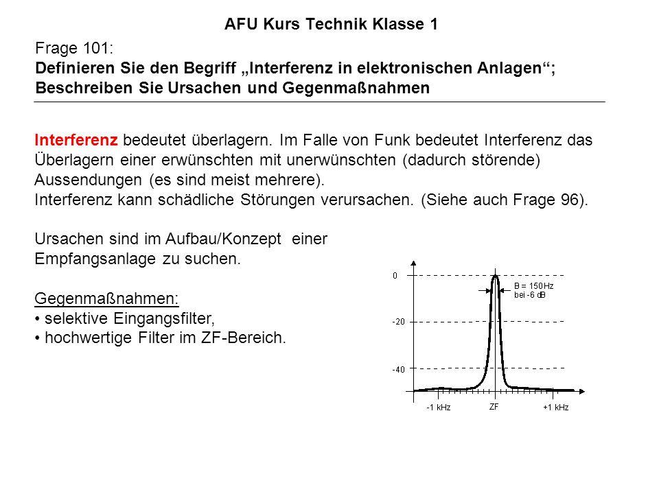 AFU Kurs Technik Klasse 1 Frage 101: Definieren Sie den Begriff Interferenz in elektronischen Anlagen; Beschreiben Sie Ursachen und Gegenmaßnahmen Interferenz bedeutet überlagern.