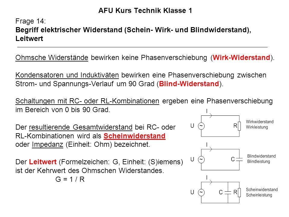 AFU Kurs Technik Klasse 1 Frage 14: Begriff elektrischer Widerstand (Schein- Wirk- und Blindwiderstand), Leitwert Ohmsche Widerstände bewirken keine Phasenverschiebung (Wirk-Widerstand).