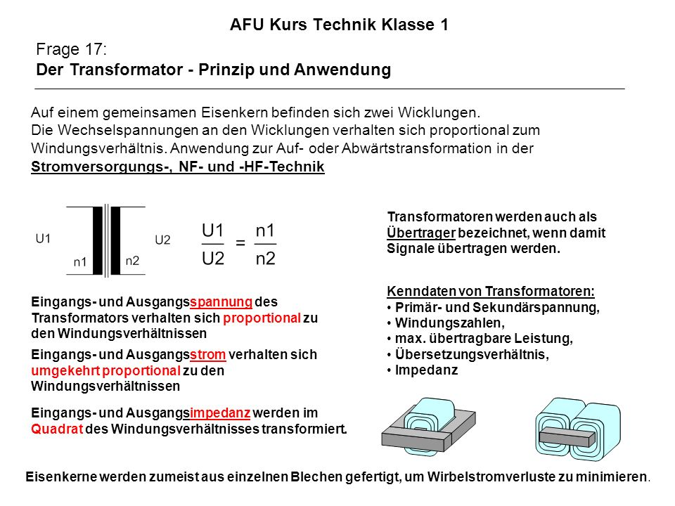 AFU Kurs Technik Klasse 1 Frage 17: Der Transformator - Prinzip und Anwendung Auf einem gemeinsamen Eisenkern befinden sich zwei Wicklungen. Die Wechs