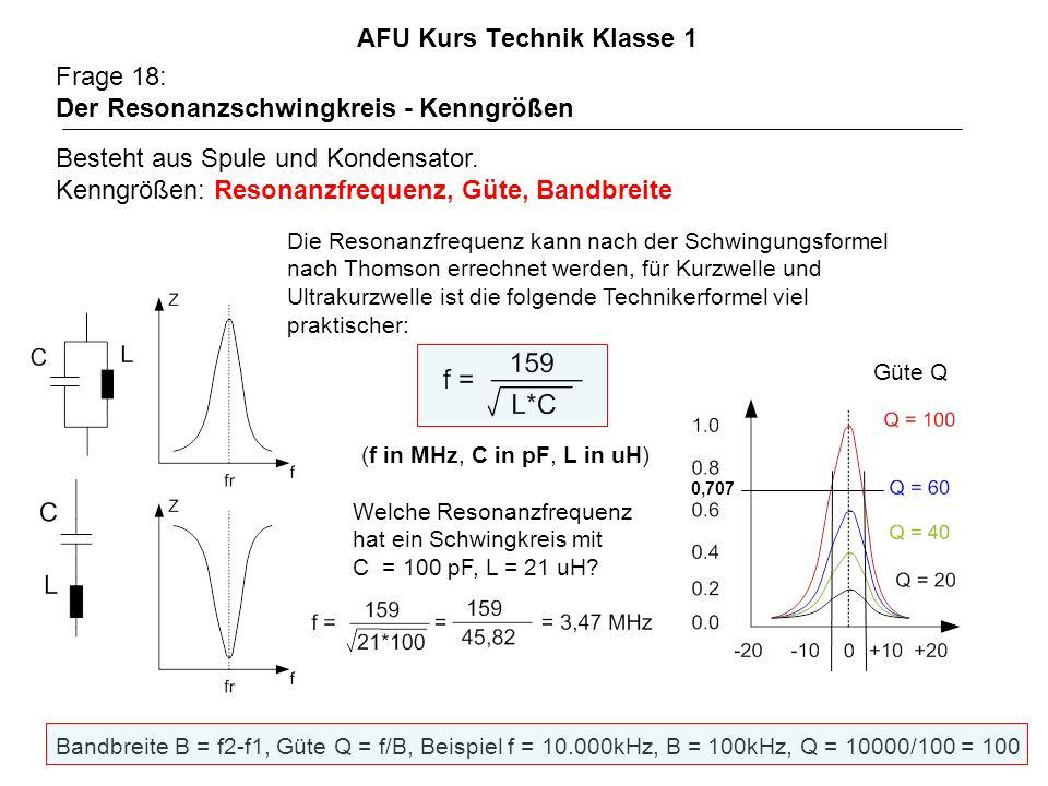 AFU Kurs Technik Klasse 1 Frage 18: Der Resonanzschwingkreis - Kenngrößen Besteht aus Spule und Kondensator. Kenngrößen: Resonanzfrequenz, Güte, Bandb