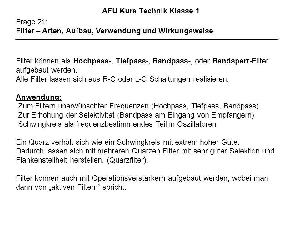 AFU Kurs Technik Klasse 1 Frage 21: Filter – Arten, Aufbau, Verwendung und Wirkungsweise Filter können als Hochpass-, Tiefpass-, Bandpass-, oder Bands