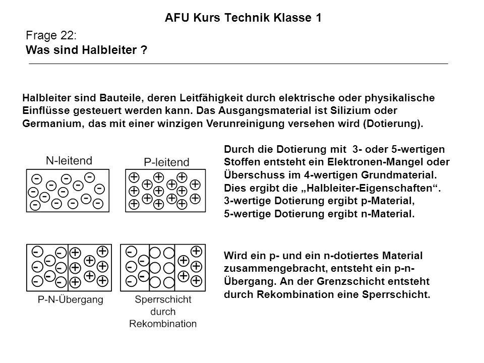 AFU Kurs Technik Klasse 1 Frage 22: Was sind Halbleiter ? Halbleiter sind Bauteile, deren Leitfähigkeit durch elektrische oder physikalische Einflüsse