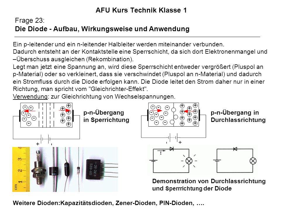 AFU Kurs Technik Klasse 1 Frage 23: Die Diode - Aufbau, Wirkungsweise und Anwendung Ein p-leitender und ein n-leitender Halbleiter werden miteinander verbunden.