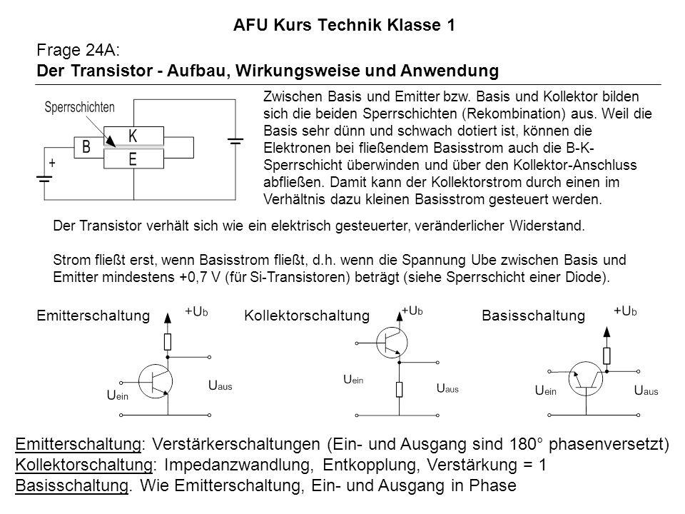 AFU Kurs Technik Klasse 1 Frage 24A: Der Transistor - Aufbau, Wirkungsweise und Anwendung Zwischen Basis und Emitter bzw.