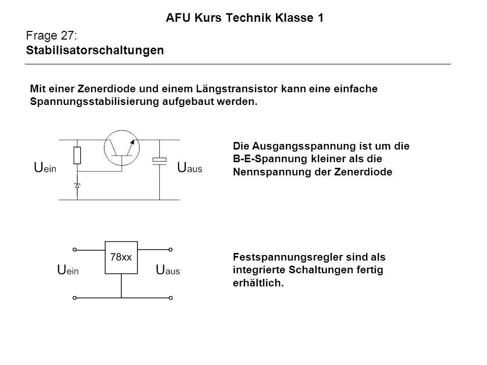 AFU Kurs Technik Klasse 1 Frage 27: Stabilisatorschaltungen Die Ausgangsspannung ist um die B-E-Spannung kleiner als die Nennspannung der Zenerdiode Festspannungsregler sind als integrierte Schaltungen fertig erhältlich.