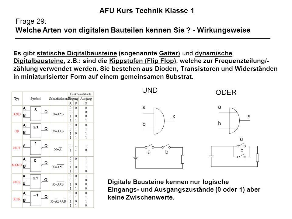 AFU Kurs Technik Klasse 1 Frage 29: Welche Arten von digitalen Bauteilen kennen Sie ? - Wirkungsweise Es gibt statische Digitalbausteine (sogenannte G