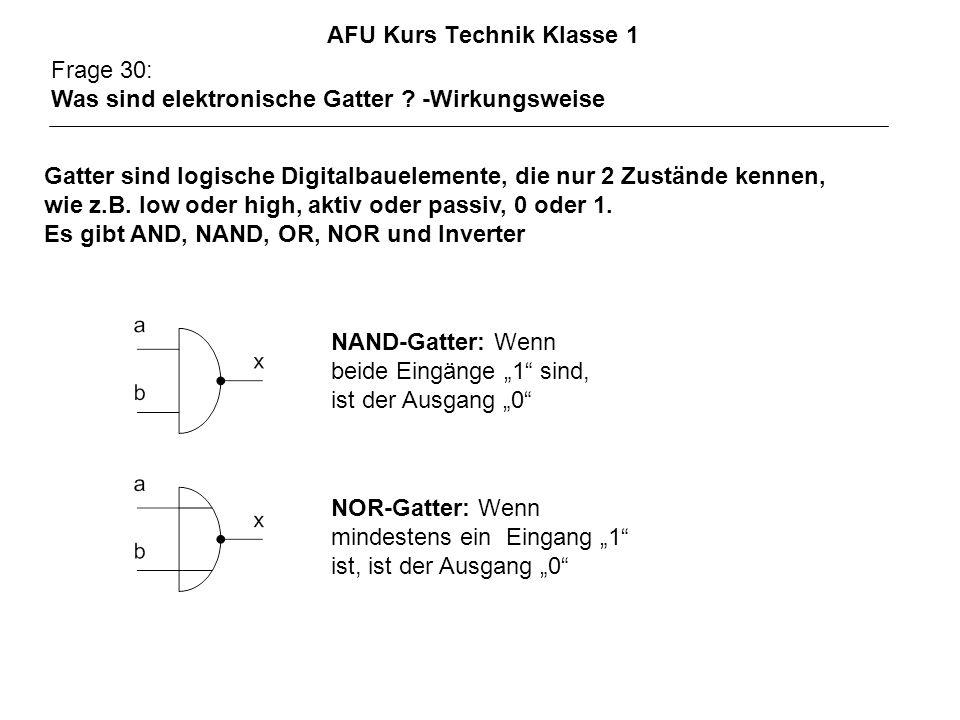 AFU Kurs Technik Klasse 1 Frage 30: Was sind elektronische Gatter ? -Wirkungsweise Gatter sind logische Digitalbauelemente, die nur 2 Zustände kennen,