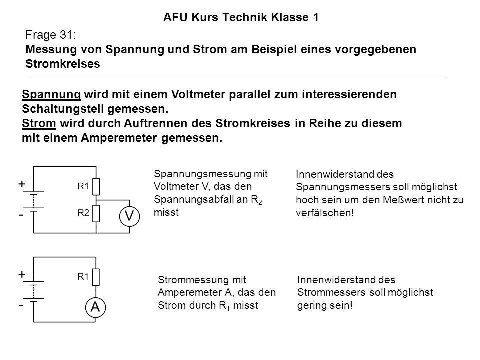 AFU Kurs Technik Klasse 1 Frage 31: Messung von Spannung und Strom am Beispiel eines vorgegebenen Stromkreises Spannung wird mit einem Voltmeter parallel zum interessierenden Schaltungsteil gemessen.