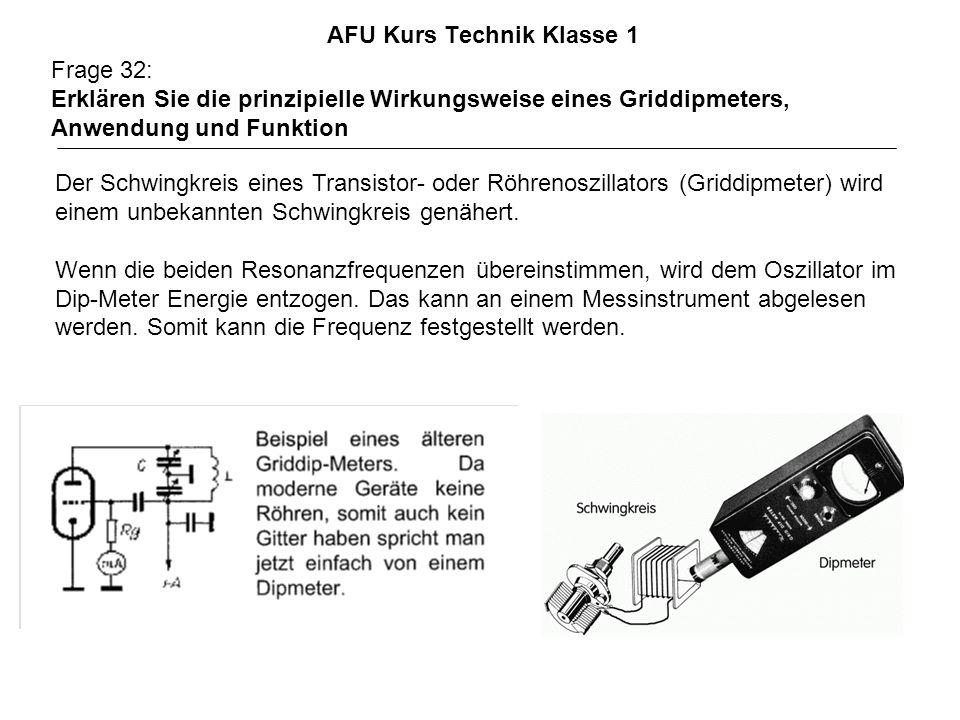 AFU Kurs Technik Klasse 1 Frage 32: Erklären Sie die prinzipielle Wirkungsweise eines Griddipmeters, Anwendung und Funktion Der Schwingkreis eines Transistor- oder Röhrenoszillators (Griddipmeter) wird einem unbekannten Schwingkreis genähert.