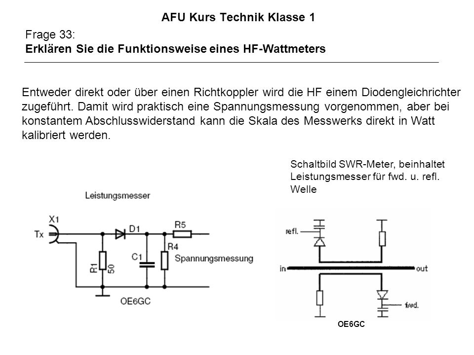 AFU Kurs Technik Klasse 1 Frage 33: Erklären Sie die Funktionsweise eines HF-Wattmeters Entweder direkt oder über einen Richtkoppler wird die HF einem Diodengleichrichter zugeführt.