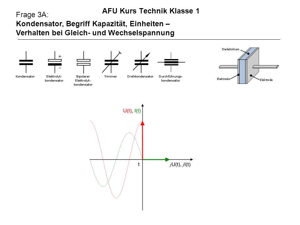 AFU Kurs Technik Klasse 1 Frage 3A: Kondensator, Begriff Kapazität, Einheiten – Verhalten bei Gleich- und Wechselspannung