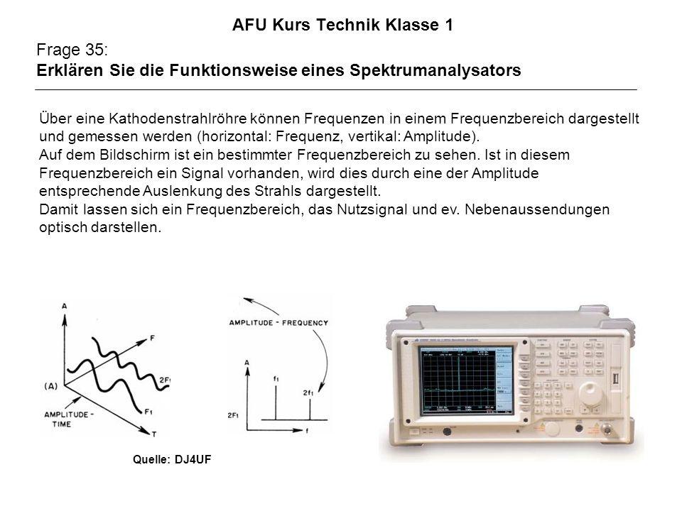 AFU Kurs Technik Klasse 1 Frage 35: Erklären Sie die Funktionsweise eines Spektrumanalysators Über eine Kathodenstrahlröhre können Frequenzen in einem Frequenzbereich dargestellt und gemessen werden (horizontal: Frequenz, vertikal: Amplitude).