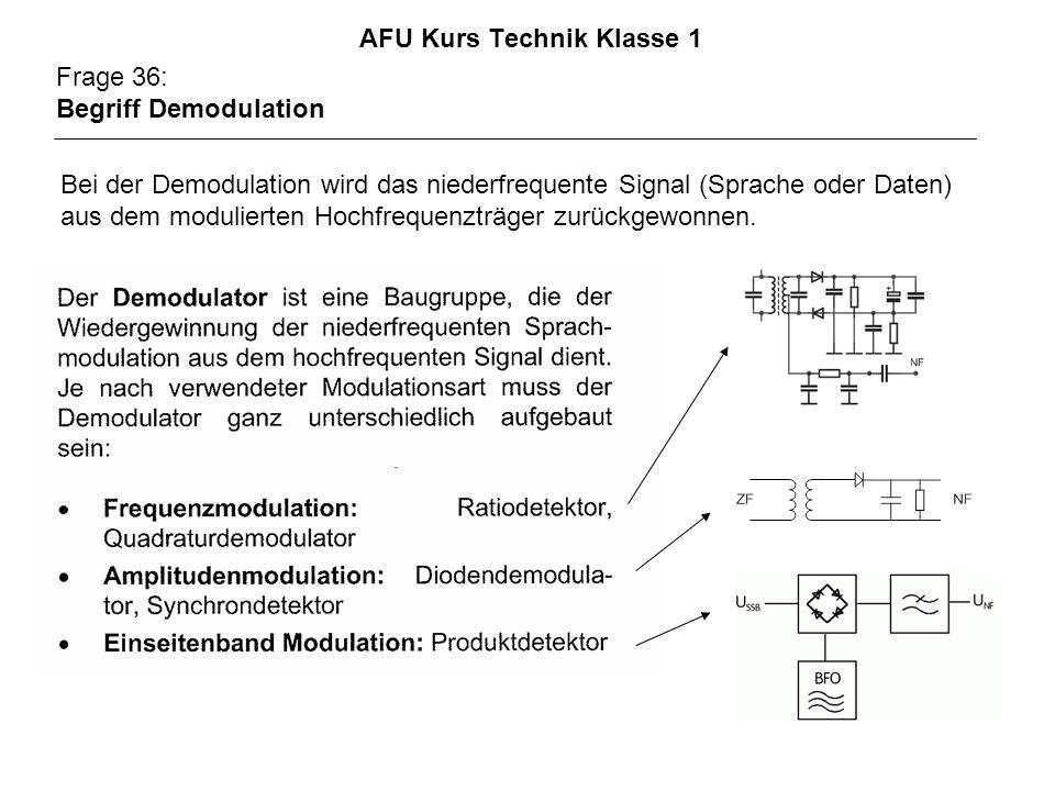 AFU Kurs Technik Klasse 1 Frage 36: Begriff Demodulation Bei der Demodulation wird das niederfrequente Signal (Sprache oder Daten) aus dem modulierten Hochfrequenzträger zurückgewonnen.