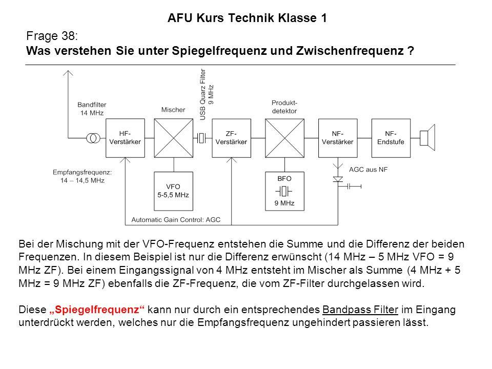 AFU Kurs Technik Klasse 1 Frage 38: Was verstehen Sie unter Spiegelfrequenz und Zwischenfrequenz ? Bei der Mischung mit der VFO-Frequenz entstehen die