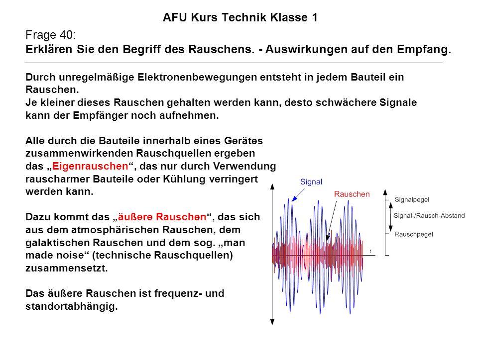 AFU Kurs Technik Klasse 1 Frage 40: Erklären Sie den Begriff des Rauschens. - Auswirkungen auf den Empfang. Durch unregelmäßige Elektronenbewegungen e