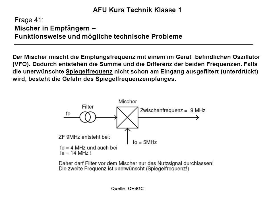 AFU Kurs Technik Klasse 1 Frage 41: Mischer in Empfängern – Funktionsweise und mögliche technische Probleme Der Mischer mischt die Empfangsfrequenz mi