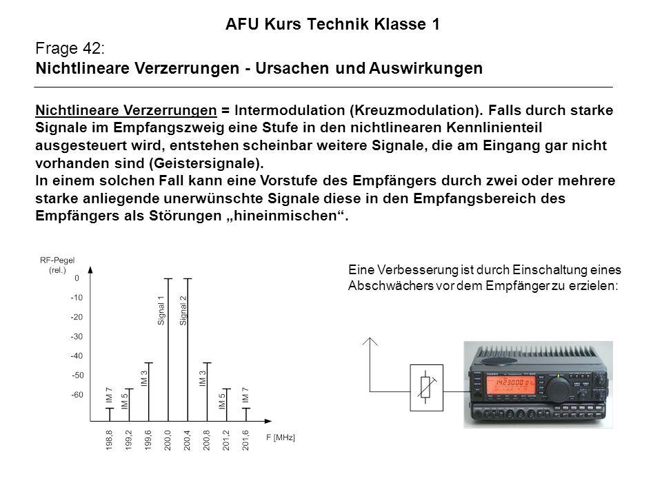AFU Kurs Technik Klasse 1 Frage 42: Nichtlineare Verzerrungen - Ursachen und Auswirkungen Nichtlineare Verzerrungen = Intermodulation (Kreuzmodulation).
