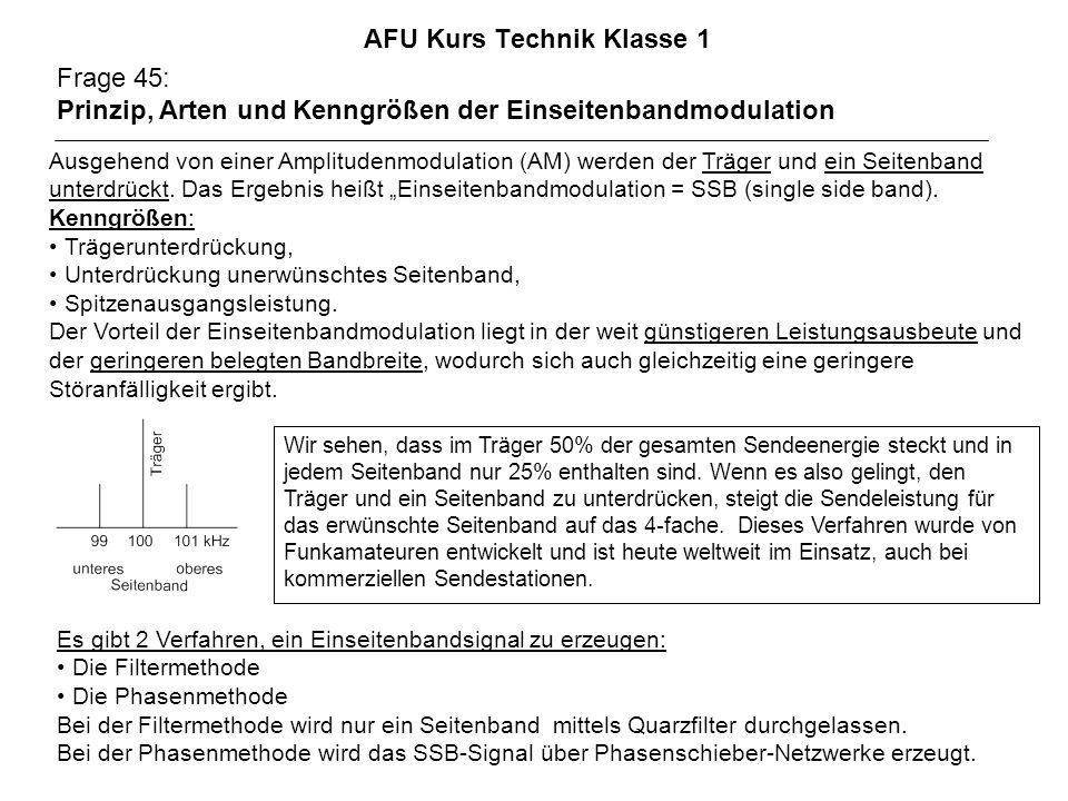 AFU Kurs Technik Klasse 1 Frage 45: Prinzip, Arten und Kenngrößen der Einseitenbandmodulation Ausgehend von einer Amplitudenmodulation (AM) werden der Träger und ein Seitenband unterdrückt.