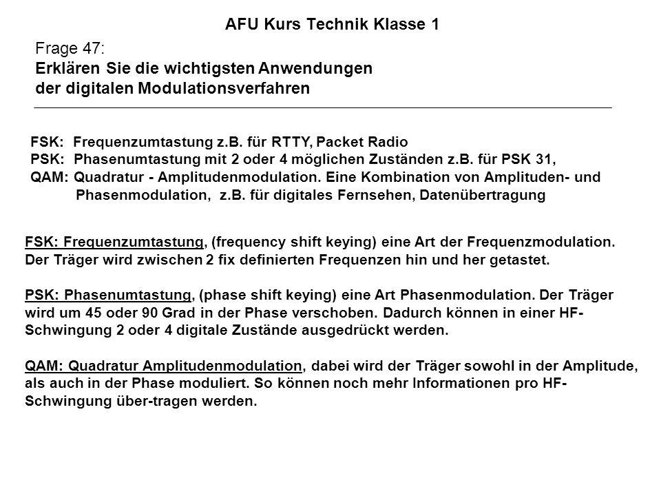AFU Kurs Technik Klasse 1 Frage 47: Erklären Sie die wichtigsten Anwendungen der digitalen Modulationsverfahren FSK: Frequenzumtastung z.B. für RTTY,