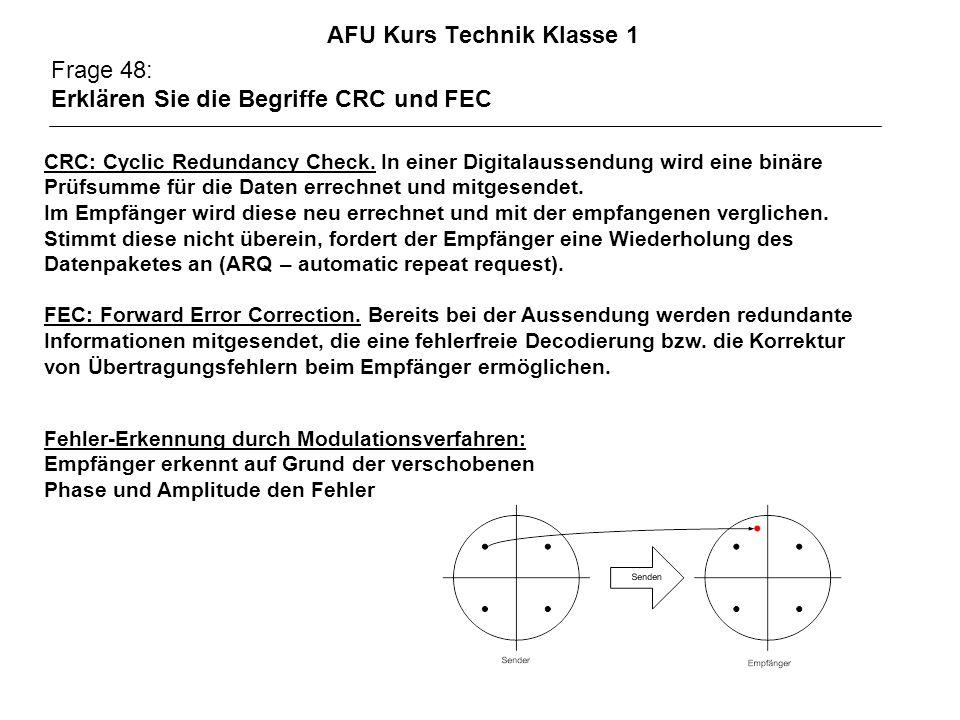 AFU Kurs Technik Klasse 1 Frage 48: Erklären Sie die Begriffe CRC und FEC CRC: Cyclic Redundancy Check.