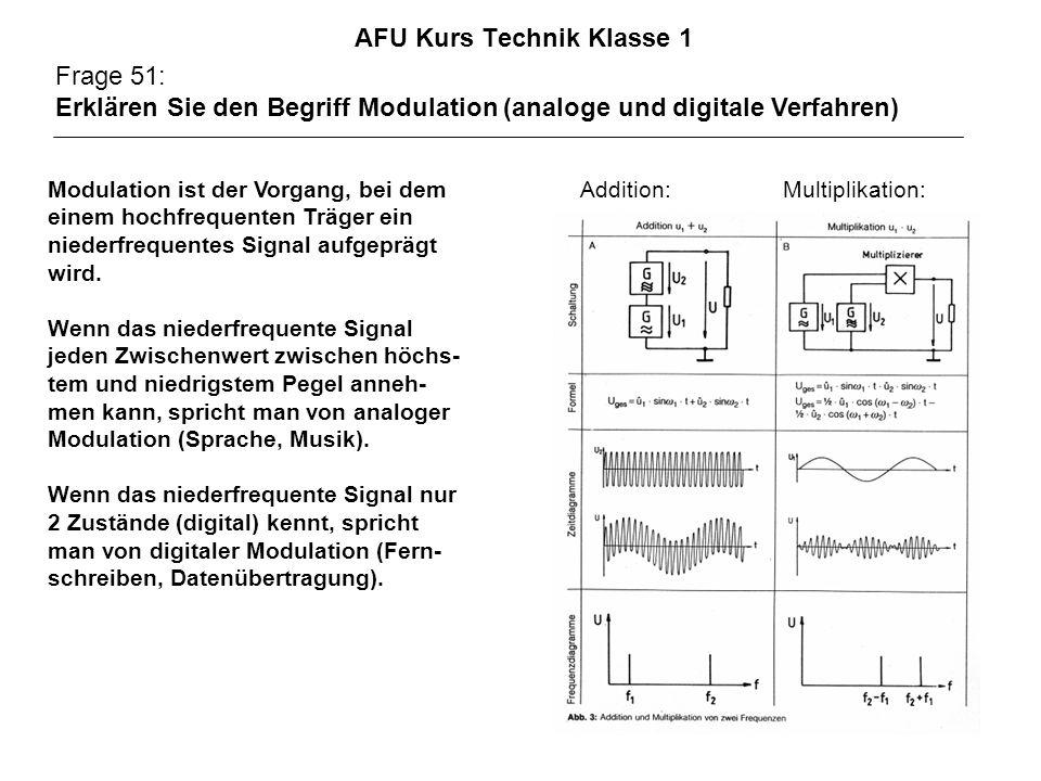 AFU Kurs Technik Klasse 1 Frage 51: Erklären Sie den Begriff Modulation (analoge und digitale Verfahren) Modulation ist der Vorgang, bei dem Addition: Multiplikation: einem hochfrequenten Träger ein niederfrequentes Signal aufgeprägt wird.