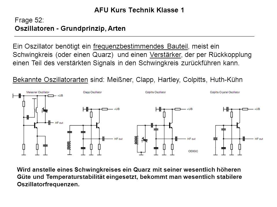 AFU Kurs Technik Klasse 1 Frage 52: Oszillatoren - Grundprinzip, Arten Ein Oszillator benötigt ein frequenzbestimmendes Bauteil, meist ein Schwingkreis (oder einen Quarz) und einen Verstärker, der per Rückkopplung einen Teil des verstärkten Signals in den Schwingkreis zurückführen kann.